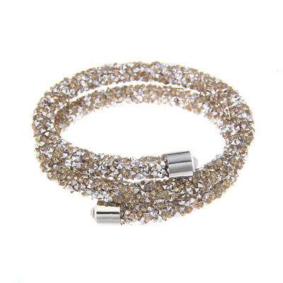 Brown and Silver Crystal & Silvertone Coil Bracelet made with Swarovski Elements