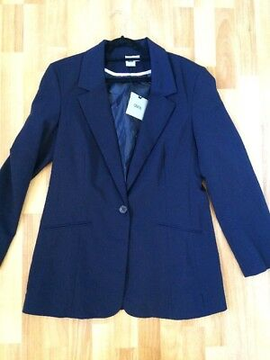 ASOS Women's Size 14 Blazer Jacket Navy Blue Fully Lined NWT