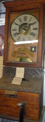 Antique wind up  Time clock punch card