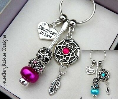 Beautiful DAUGHTER IN LAW Dream Catcher Keyring Key Ring You Choose Colour