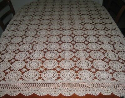 Vintage Crocheted Lace Tablecloth ~ Cotton ~ Cream/light Beige ~ Oblong