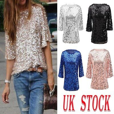 Womens Bling Sequin Sparkle Glitter 3/4 Sleeve Coctail Party Top T-Shirt Size 20