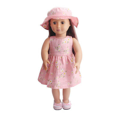"Dolls' Clothes Floral Dress Hat Set Outfit for 18"" American Girl Doll Pink"