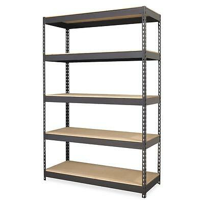"Lorell Riveted Steel Shelving 48""x24""x72"" Black 60624"