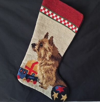 needlepoint Christmas stocking Norwich Terrier full size*NOT a kit