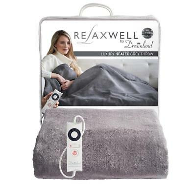 Relaxwell By Dreamland Luxury Heated Grey Throw 16447