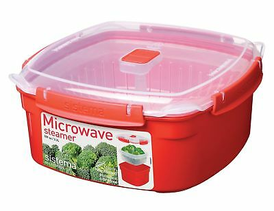 Sistema Microwave Large Steamer with Removable Basket 3.2L - Red/Clear