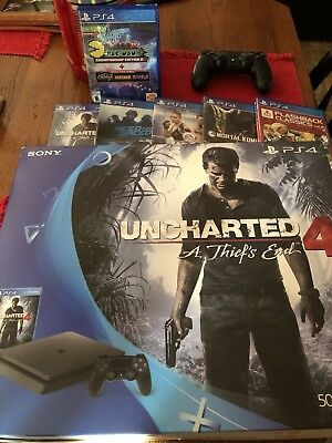 SONY PLAYSTATION 4 PS4 SLIM 500GB UNCHARTED 4 SYSTEM 5 games extra controller