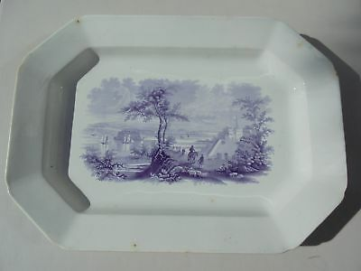 """Old Antique Historical Staffordshire Mulberry Platter Narrows Port Hamilton 17"""""""