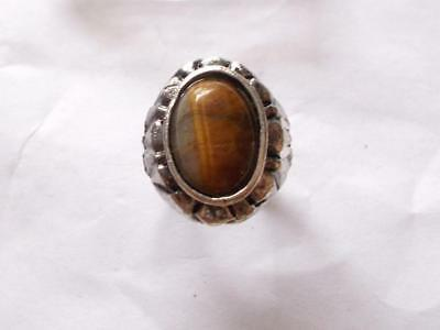 Vintage 1970's Silver Tone & Brown Tigers Eye Glass Gemstone Cocktail Ring