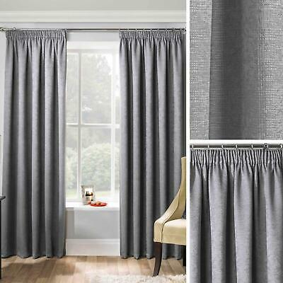 Matrix Thermal Lined Tape Top Curtains Ready Made Pencil Pleat Pairs Charcoal