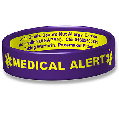 Medical Alert Engraveable Broad Silicone ID Wristband