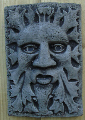 Green Man Wall Plaque - Hand Cast Stone Garden Ornament - 15x2x23 cms 1.28 kg
