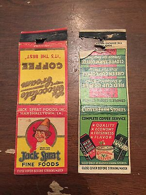 Vintage Jack Sprat Coffee and Other Coffee Advertising Matchbook Cover Lot of 2