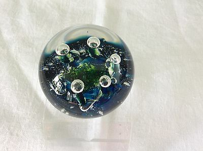 "Selkirk Glass Scotland Paperweight ""Aquamarine""  L/E 245 / 500 1982"