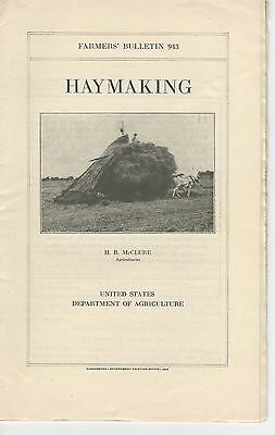 U.S. Department if Agriculture Farmers' Bulletin No.943 Haymaking 1924
