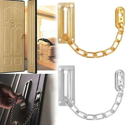 Door Chain Guard Lock Security Brass Bolt Swing Bar Home Solid Safety Slide