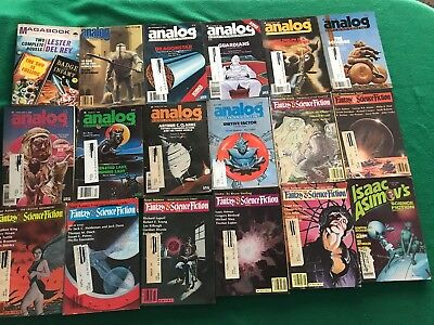 Lot of 18 vintage 1980s science fiction digest magazines, Analog, etc. LOOK!