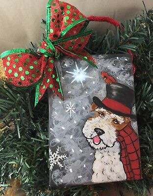 hand painted Wire fox terrier LIGHTED Christmas ornament
