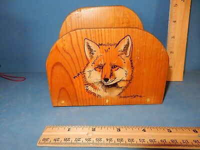 STURDY WOODEN LETTER OR NAPKIN HOLDER WITH FOX HEAD ART office, kitchen