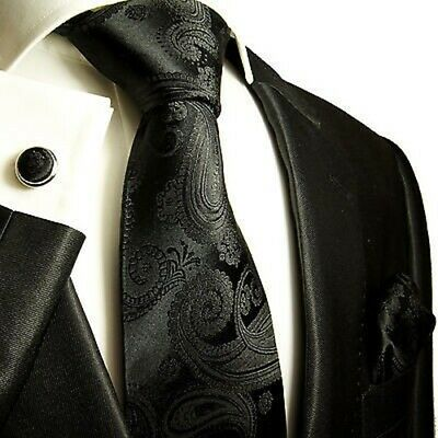 Classic Black Paisley Silk Tie and Accessories