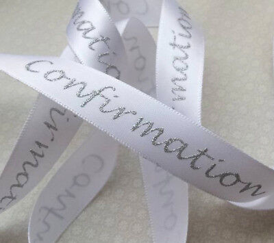 1m x 15mm Soft White Satin  Confirmation Ribbon with Sparkly Silver Script Print