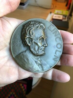 Big Rare Abraham Lincoln Bronze Essay Table Medal Award 1920s