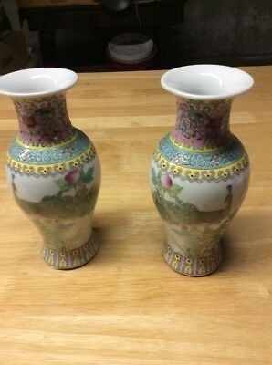 "(2) Japanese Hand Painted 8"" China Vases"