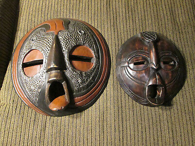 Set of 2 Wooden wall masks from Ghana / Africa (#22)