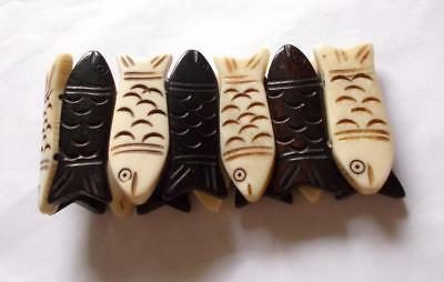 Vintage 1970's Cream & Brown Carved Wood Wooden Fish Statement Bangle Bracelet