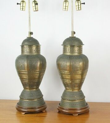 Antique Brass Table Lamps Pair Ornately Carved Urn Shaped Mid-Century Lamps Indi
