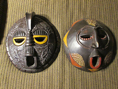Set of 2 Wooden wall masks from Ghana / Africa (#24)