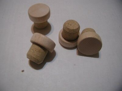 23mm CORK AND WOOD BOTTLE STOPPER top is 33mm X 13mm cork 27mm X 23mm - 21mm