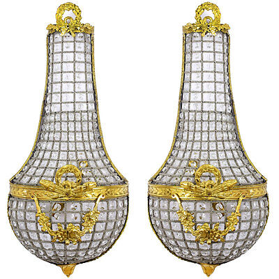 WANDLAMPEN PAAR mit KRISTALLBEHANG, Pair of EMPIRE WALL LAMPS, 2-er SET LAMPEN