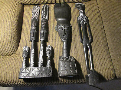 Set of 3 Wooden Table Mask / Statues from Ghana / Africa (#26)