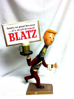 Blatz running waiter metal bottle guy beer sign statue man vintage billboard IT7
