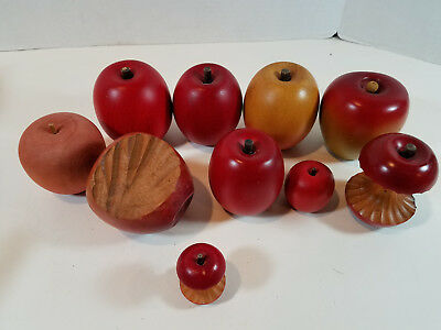 Wood Faux Fake Fruit Red Apples Lot of 10 Home Decor