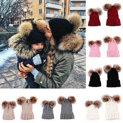 TWO-PIECE Cute Child Baby Adult Furball Pom Pom Hat Knitted Crochet Beanies