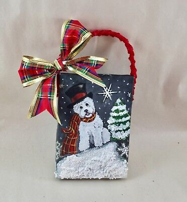 hand painted west highland white terrier westie LIGHTED Christmas ornament