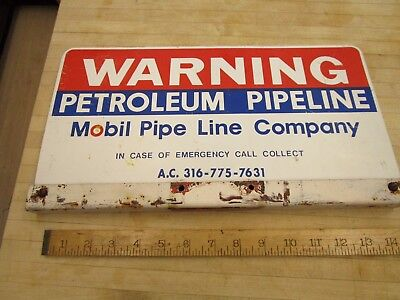 VINTAGE Mobil Double Sided PIPE LINE METAL Sign Warning,gas Oil Petroleum
