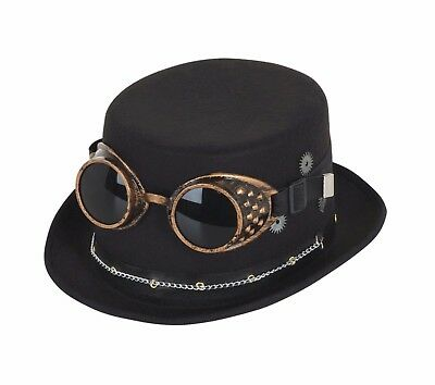 aa98f25c33ef13 Black Steampunk Top Hat w/ Goggles Gothic Goth Victorian Fancy Dress 6/12/
