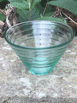 Beautiful Small Glass Green Ribbed Bowl