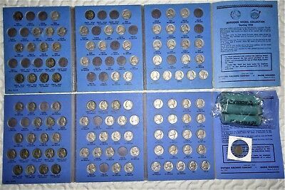 LOT (2) NICKEL COIN COLLECTION BOOKS 1938-61 WAR V BUFFALO EXTRA ROLLS 1930-50's