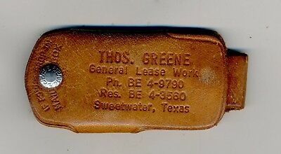 Old Leather Single Key Case Fob Holder Parking Coin Token Slot Advertising  Tx