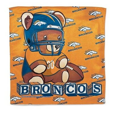 "Denver Broncos Littlest Fan Burp Cloth 16""x16"" Polyester NFL Authentic NWT"