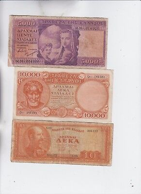 Greece Paper Money 3 old notes lower grade and up