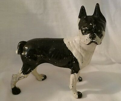 "Vintage Cast Iron Boston Terrier Dog Doorstop 9 1/2"" French Bulldog Antique Nice"