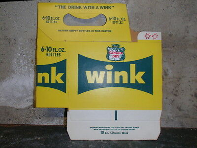 Canada Dry WINK - Six Pack Carrier - 10 oz Bottles - VINTAGE New Old Stock
