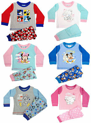 Boys Girls Baby Infants Official Minnie Mickey Mouse Pyjamas PJs 6-24 Months