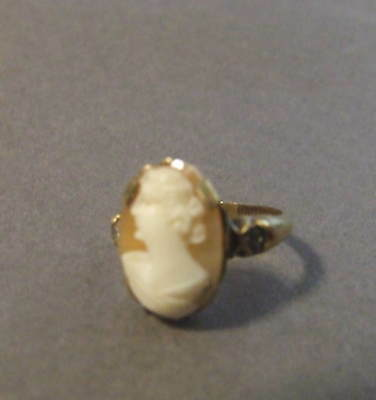Art Deco Vintage 10Kgf Shell Cameo Ring Size 5 (K6)
